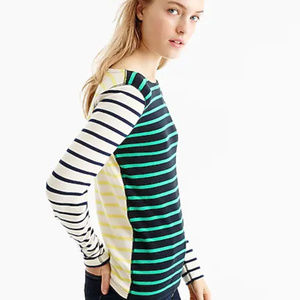 J. Crew Striped Waffle Top Green Yellow Blue XS